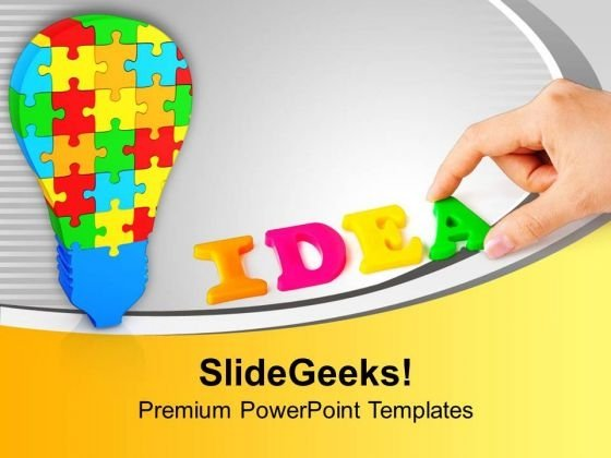 Colorful Jigsaw Puzzle Idea Business PowerPoint Templates Ppt Backgrounds For Slides 0213