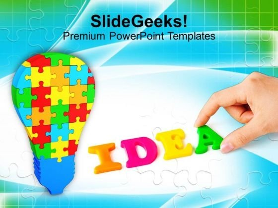 Colorful Jigsaw Puzzle With Word Idea PowerPoint Templates Ppt Backgrounds For Slides 0113