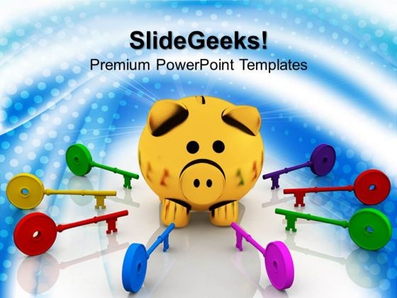 Colorful Keys Around Piggy Bank Finance PowerPoint Templates And PowerPoint Themes 1012