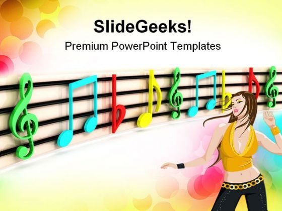 Colorful Notes Music PowerPoint Templates And PowerPoint Backgrounds 0811