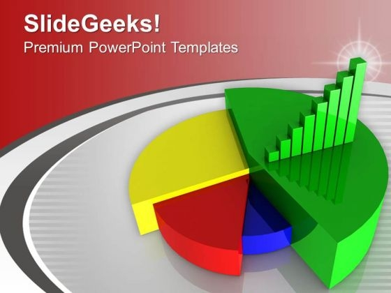 Colorful Pie Chart Under Green Bar Graph PowerPoint Templates Ppt Backgrounds For Slides 0213