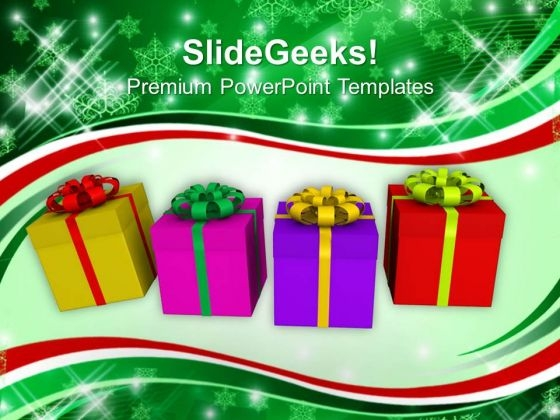 Colorful Presents For New Year Holidays PowerPoint Templates Ppt Backgrounds For Slides 1212