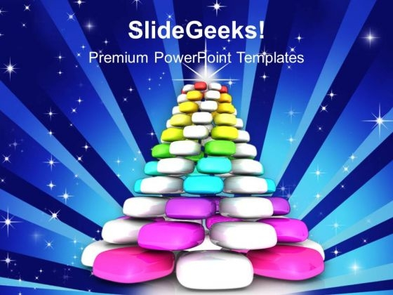 Colorful Pyramid Christmas Tree PowerPoint Templates Ppt Backgrounds For Slides 1212