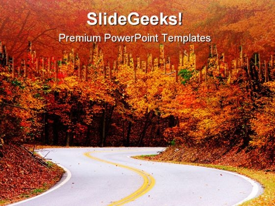 Colorful Road Nature PowerPoint Themes And PowerPoint Slides 0611
