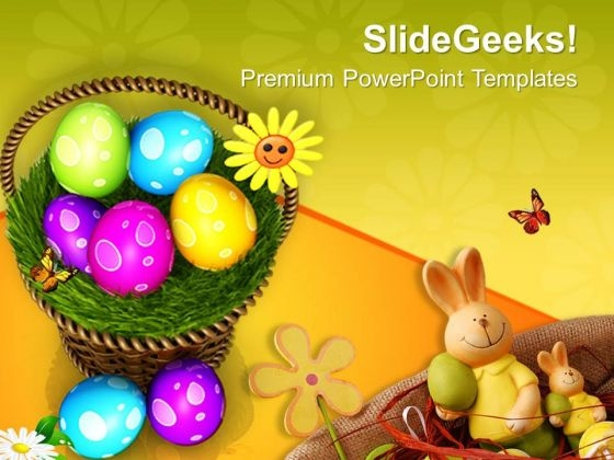 Colourful Easter Eggs In A Basket PowerPoint Templates Ppt Backgrounds For Slides 0313