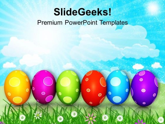 Colourful Easter Eggs In A Row PowerPoint Templates Ppt Backgrounds For Slides 0313