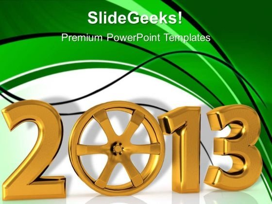Coming Of New Year With Automobile Rim PowerPoint Templates Ppt Backgrounds For Slides 1212
