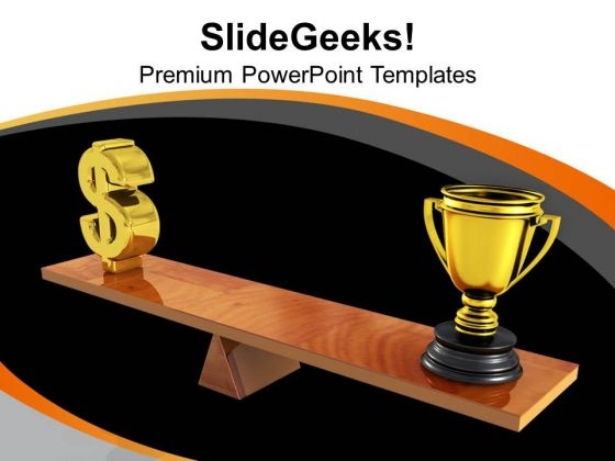 Comparison Between Dollar And Trophy Winners PowerPoint Templates Ppt Backgrounds For Slides 0313
