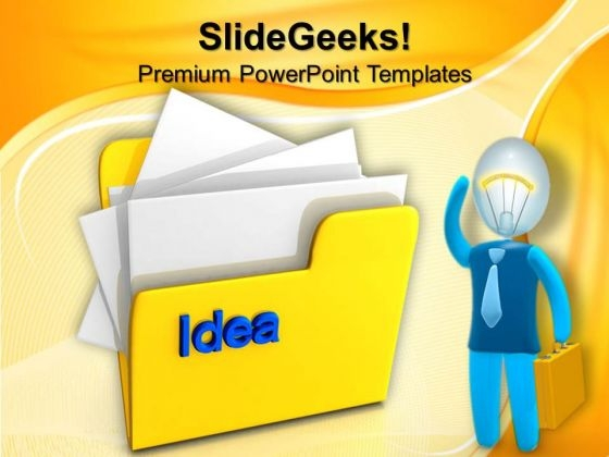 Computer Folder With Idea Business PowerPoint Templates And PowerPoint Themes 1012