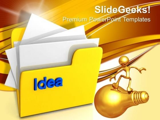 Computer Folder With Idea PowerPoint Templates And PowerPoint Themes 1012