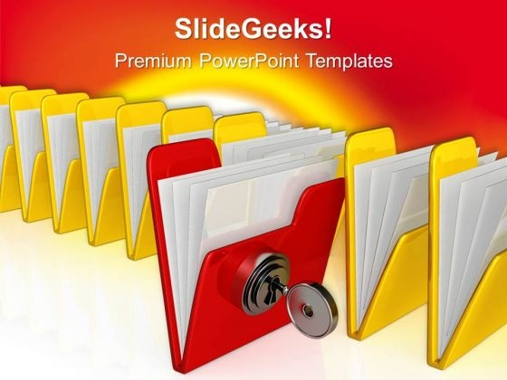 Computer Folder With Key Security PowerPoint Templates And PowerPoint Themes 0712