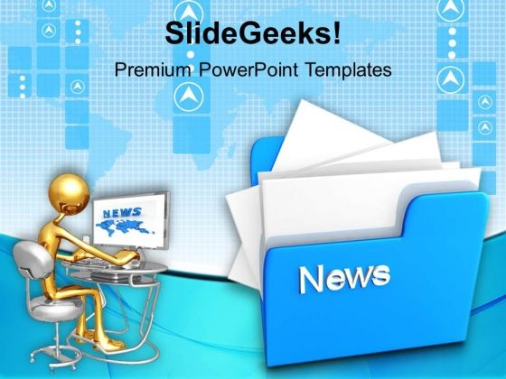 Computer Folder With News PowerPoint Templates And PowerPoint Themes 1012