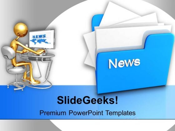 computer folder with news powerpoint templates ppt background for, Modern powerpoint