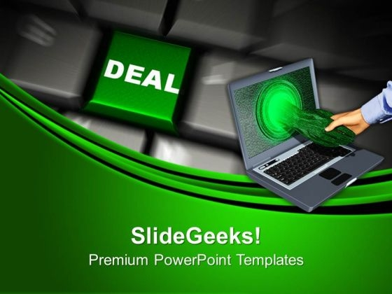 Computer Keyboard With Deal Business PowerPoint Templates And PowerPoint Themes 1012