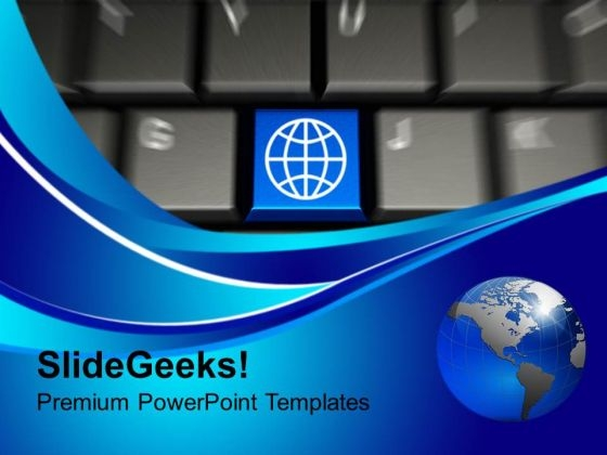 Computer Keyboard With World Key PowerPoint Templates And PowerPoint Themes 1112