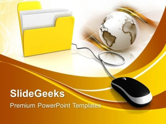 Computer Mouse And Yellow Folder PowerPoint Templates And PowerPoint Themes 1012