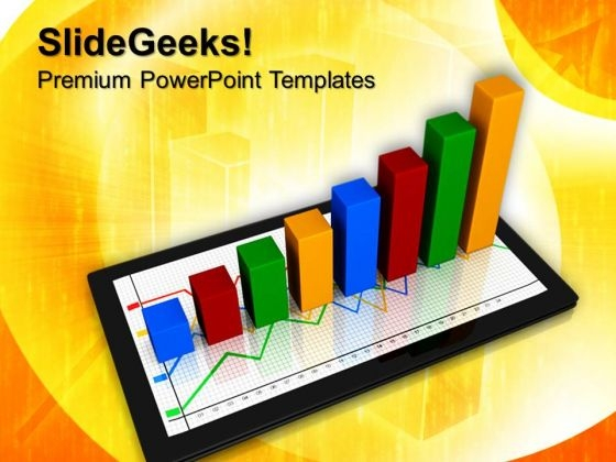 Computer Tablet With Business Graph Success PowerPoint Templates And PowerPoint Themes 0712