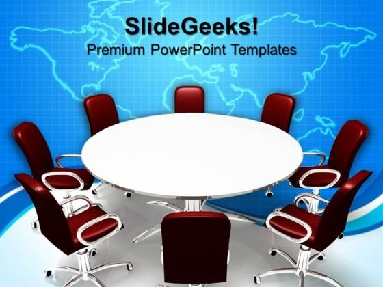Conference Table And Chairs In Meeting Room Business PowerPoint Templates And PowerPoint Themes 0812