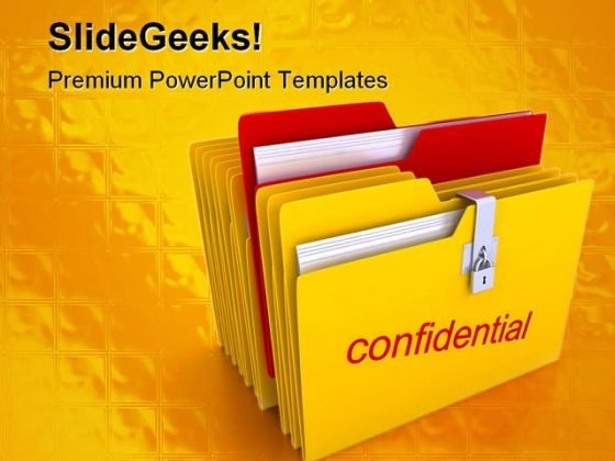 Confidential Folder Business PowerPoint Template 0810