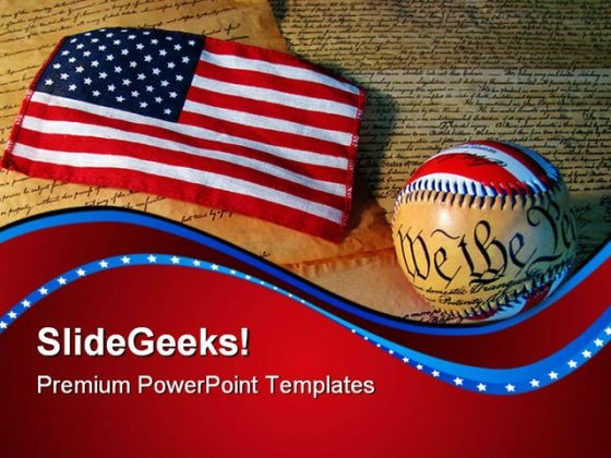 Constitution Baseball And Flag Americana PowerPoint Themes And PowerPoint Slides 0611