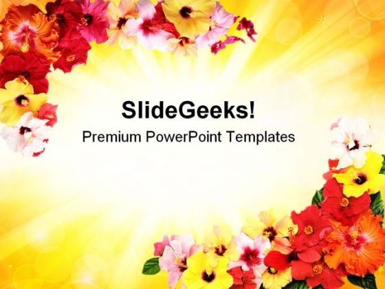 Corners With Hibiscus Abstract PowerPoint Templates And PowerPoint Backgrounds 0311