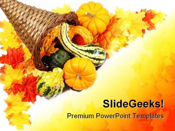 Cornucopia Border Nature PowerPoint Template 1010