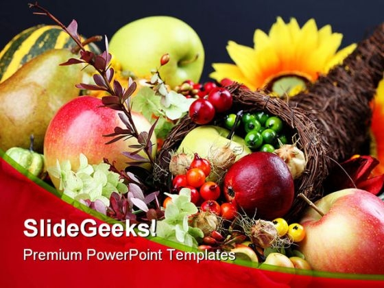 Cornucopia Food PowerPoint Template 1010