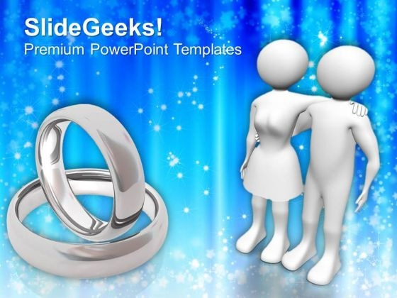 Couple And Rings Wedding PowerPoint Templates Ppt Backgrounds For Slides 0413