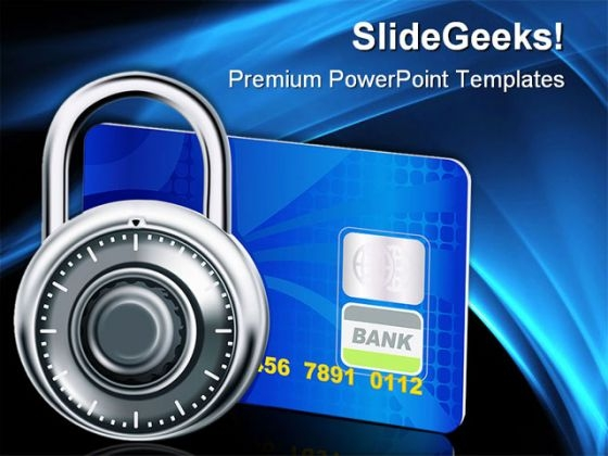 Credit Card And Lock Business PowerPoint Templates And PowerPoint Backgrounds 0411