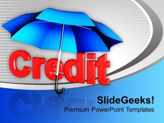 Credit Under Umbrella Finance Shopping PowerPoint Templates Ppt Backgrounds For Slides 0113