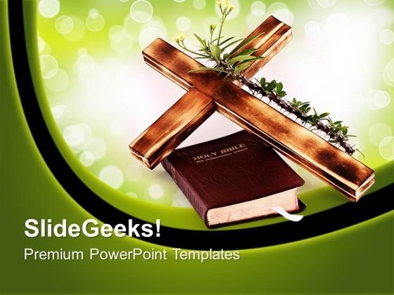 Cross And Bible Christianity Religion PowerPoint Templates And PowerPoint Themes 0712