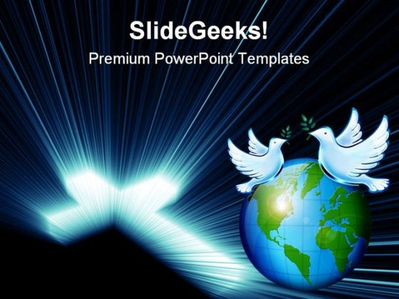 Cross Blue Lights Globe PowerPoint Themes And PowerPoint Slides 0211