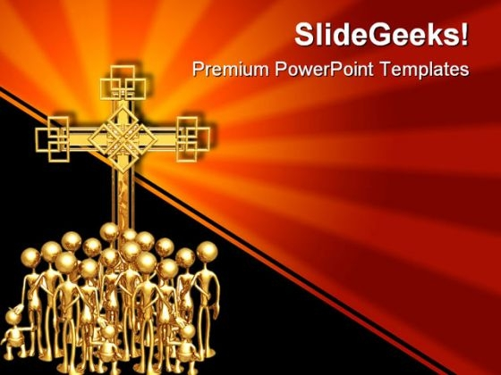 Cross Gathering Religion PowerPoint Template 0610