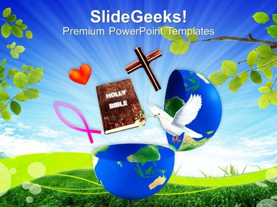 Cross Globe Concept Christian PowerPoint Templates And PowerPoint Themes 0812