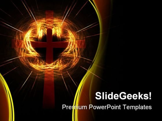 Cross In Cloud Flight Religion PowerPoint Themes And PowerPoint Slides 0511