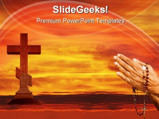 Cross In The Sky Religion PowerPoint Templates And PowerPoint Backgrounds 0511