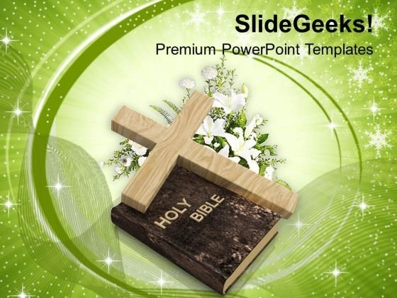 Cross On Holy Bible Christianity PowerPoint Templates Ppt Backgrounds For Slides 1212