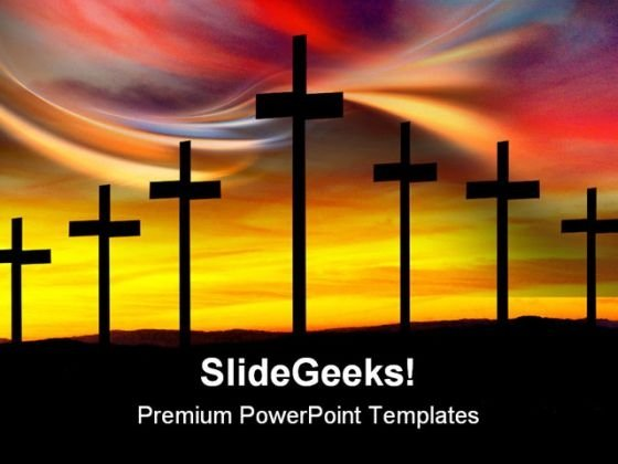 Cross Silhouette Religion PowerPoint Themes And PowerPoint Slides 0211