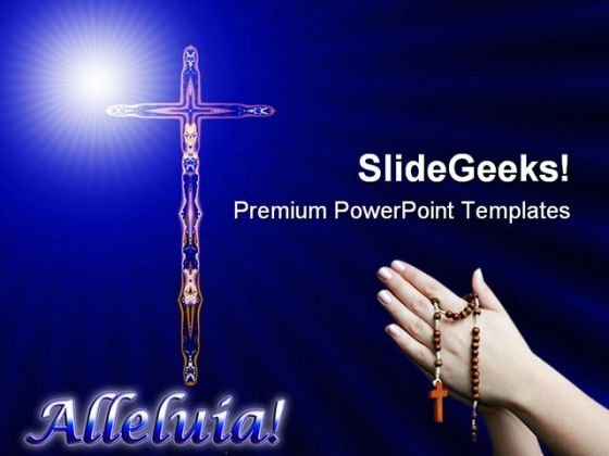 cross with alleluia religion powerpoint templates and powerpoint
