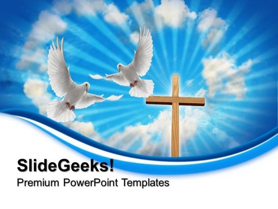 Cross With Dove Religion PowerPoint Templates And PowerPoint Themes 0712