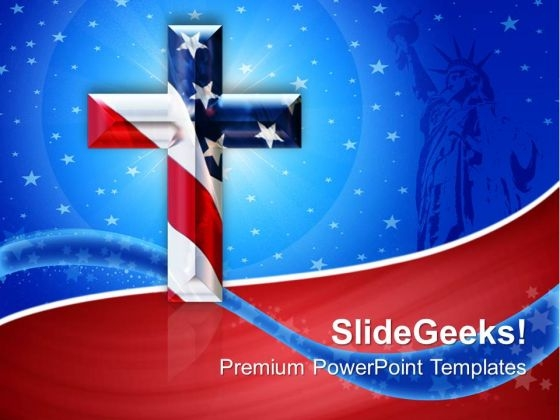 Cross With Usa Flag Americana PowerPoint Templates And PowerPoint Themes 0712