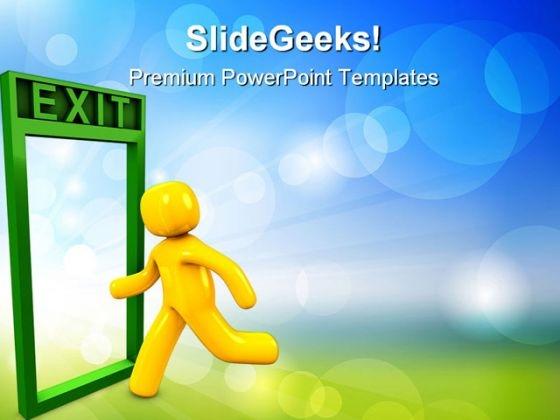Crossing Exit Door Metaphor PowerPoint Templates And PowerPoint Backgrounds 0911