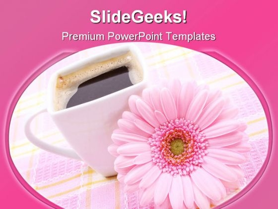 Cup Of Coffee With Flower Food PowerPoint Templates And PowerPoint Backgrounds 0311