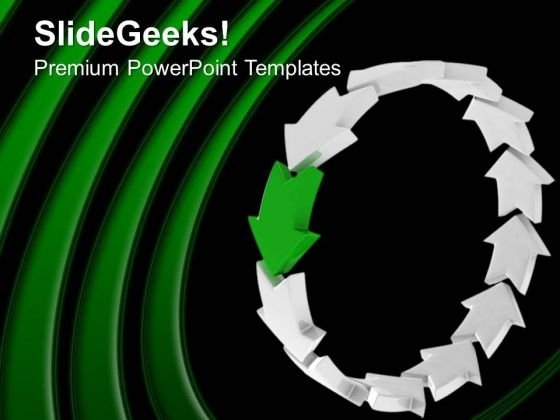 Curved Arrows Forming Circle Green Background PowerPoint Templates Ppt Backgrounds For Slides 0213