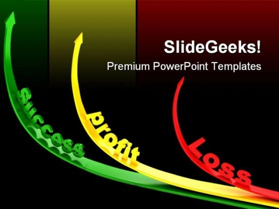 Curved Arrows Showing Profit Business PowerPoint Templates And PowerPoint Backgrounds 0611