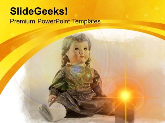 Cute Doll With Candle PowerPoint Templates Ppt Backgrounds For Slides 0513