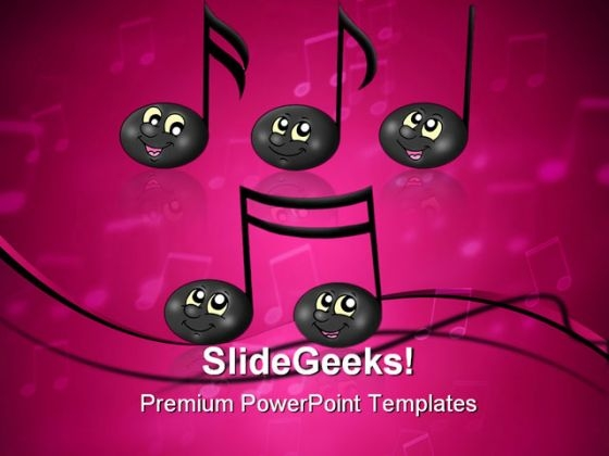 Cute Music Notes Entertainment PowerPoint Templates And PowerPoint Backgrounds 0311