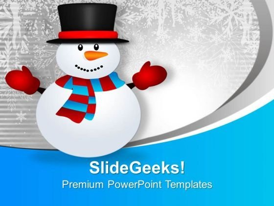 Cute Snowman On Snowy Mountain Holidays PowerPoint Templates Ppt Backgrounds For Slides 0113