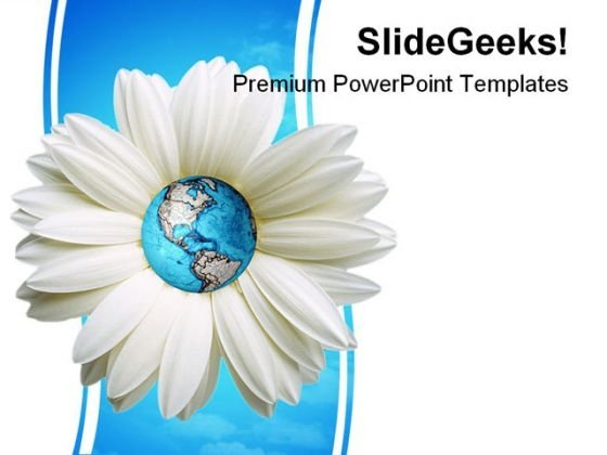 Daisy And Globe Beauty PowerPoint Template 1110