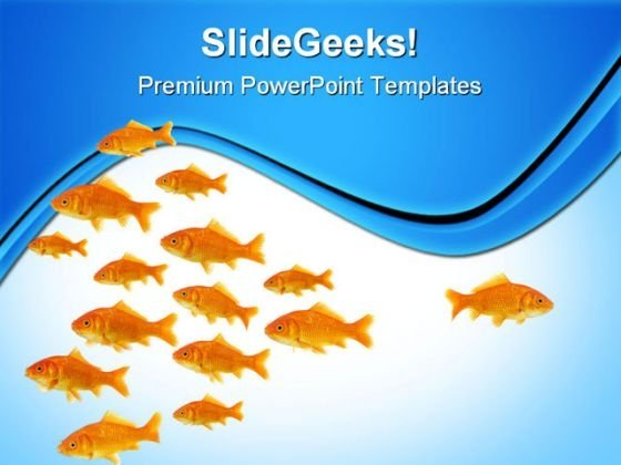 Dare To Be Different Goldfishes Animals PowerPoint Templates And PowerPoint Backgrounds 0611